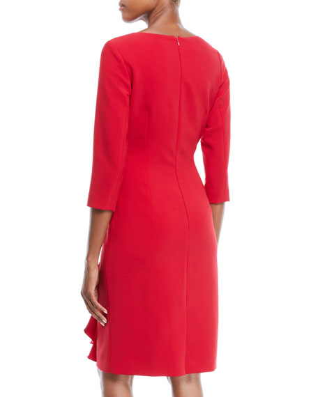3/4-Sleeve Draped Cascade Ruffle Sheath Crepe Cocktail Dress