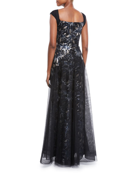 Sleeveless Sequin Tulle Overlay A-Line Evening Gown