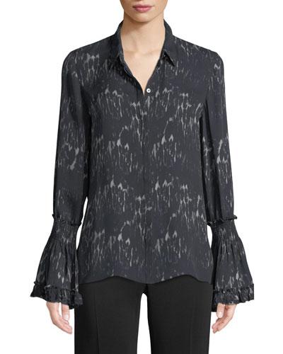 Edina Bell-Cuff Button-Front Printed Silk Blouse