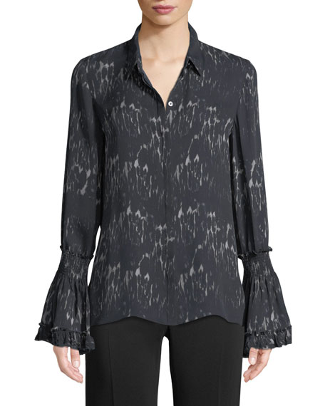 Edina Bell-Cuff Button-Front Printed Silk Blouse