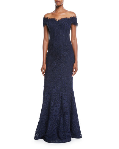 Rickie Freeman For Teri Jon Off The Shoulder Lace Trumpet Evening Gown W