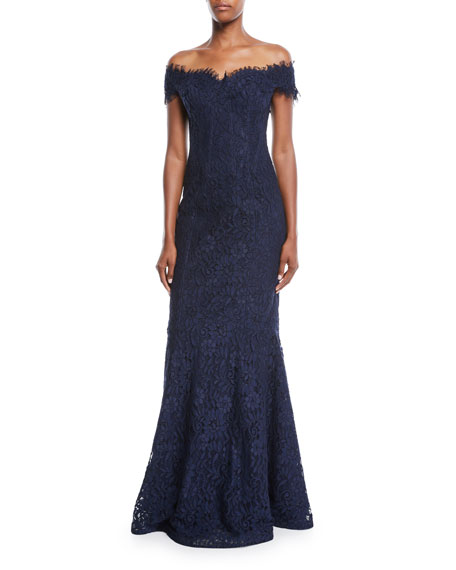 Off-the-Shoulder Lace Trumpet Evening Gown w/ Godet Skirt