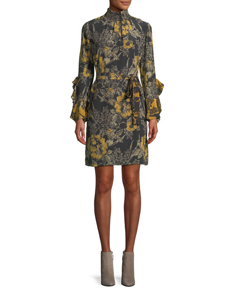 Sheila Floral-Print Silk Trumpet-Sleeve Dress