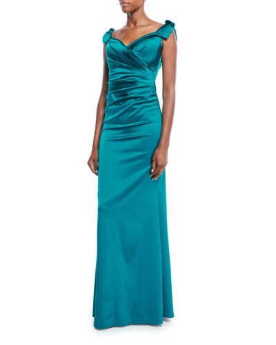 Sweetheart-Neck Shoulder-Ties Draped Stretch-Satin Evening Gown