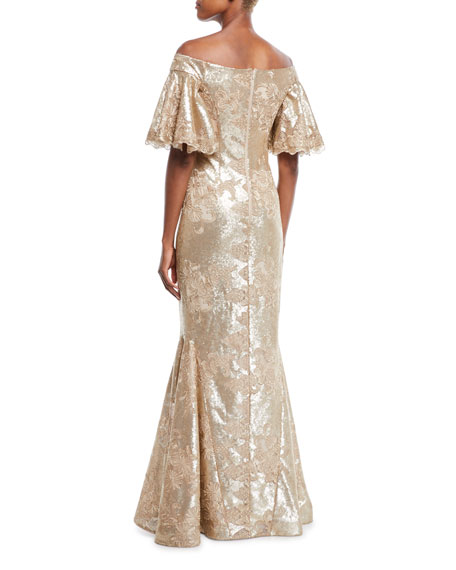Off-the-Shoulder Bell-Sleeve Stretch-Sequin Evening Gown