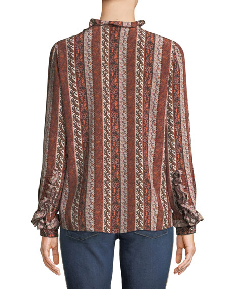Elyse Paisley Striped Silk Blouse w/ Ruffle Trim