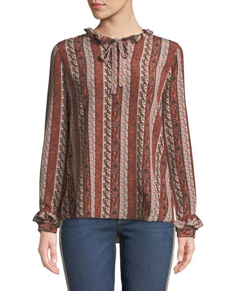 Kobi Halperin Elyse Paisley Striped Silk Blouse w/