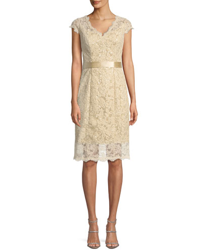 Cap-Sleeve Belted Lace Cocktail Dress