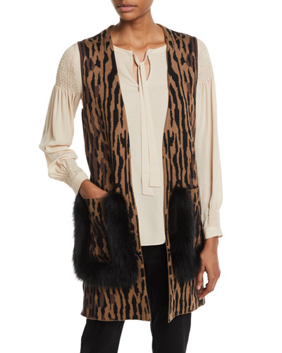 Ginette Animal-Print Sweater Vest with Fur Trim