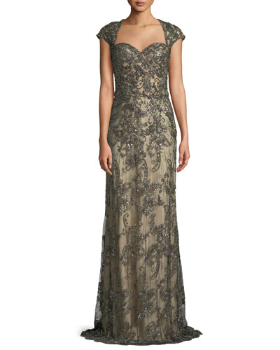 Beaded Lace Gown w/ Cap Sleeves