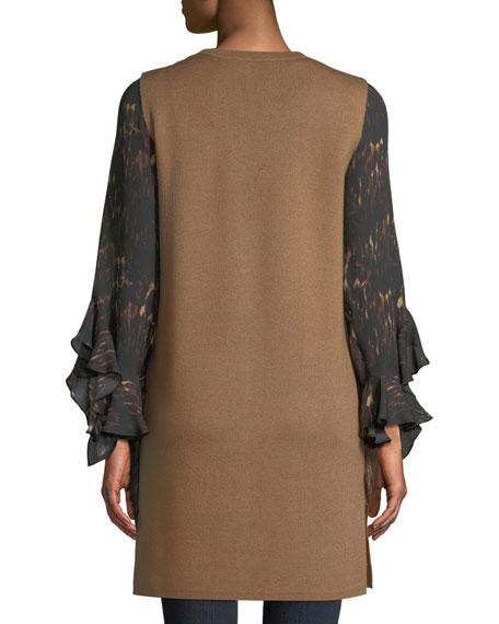 Rosena Wool-Blend Sweater Vest w/ Fur Pockets
