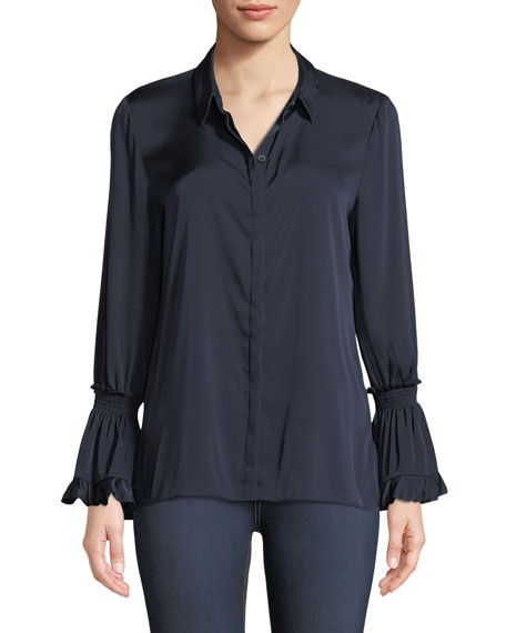 Hana Silk Blouse w/ Bell Sleeves