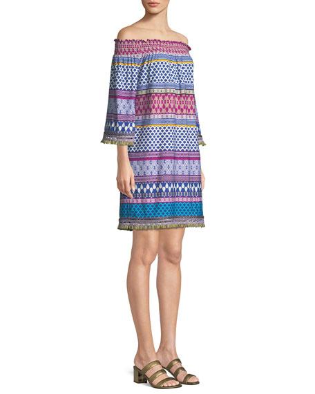 Emilia Off-the-Shoulder Print Stripe Jersey Dress