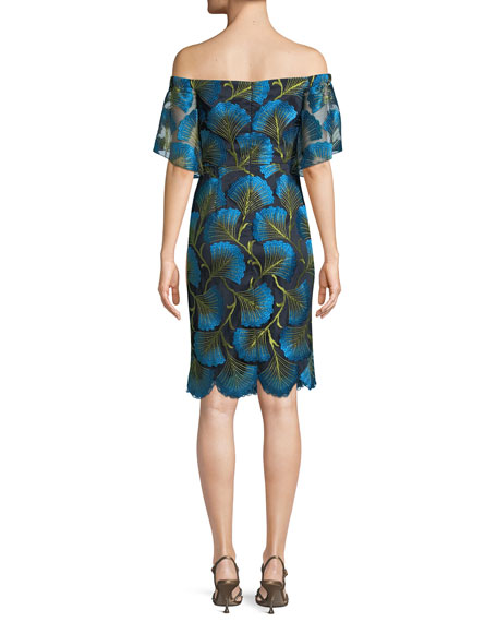 Naomi Off-the-Shoulder Dress w/ Fan Foliage