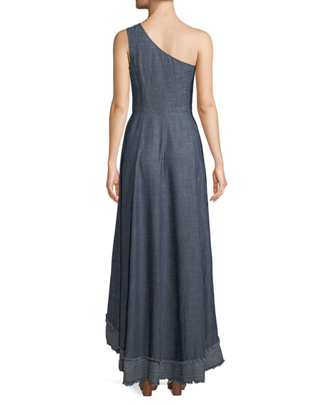 Bel-Air One-Shoulder Dress in Chambray