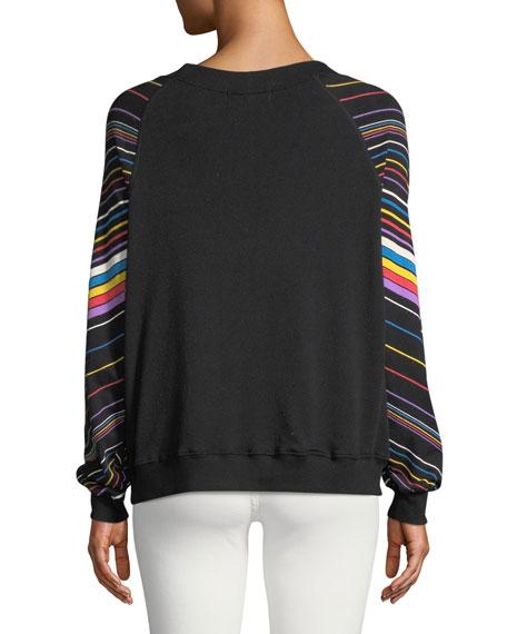 Chevron-Striped Crewneck Cotton Sweater Top