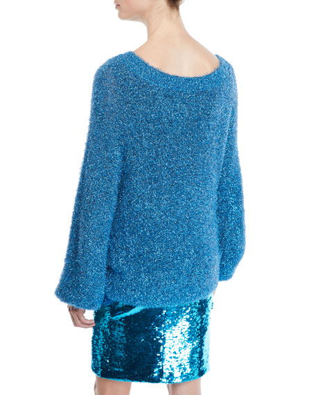 Lisha Blouson-Sleeve Metallic Sweater