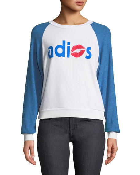 Adios Shrunken Graphic Baseball Sweatshirt Top