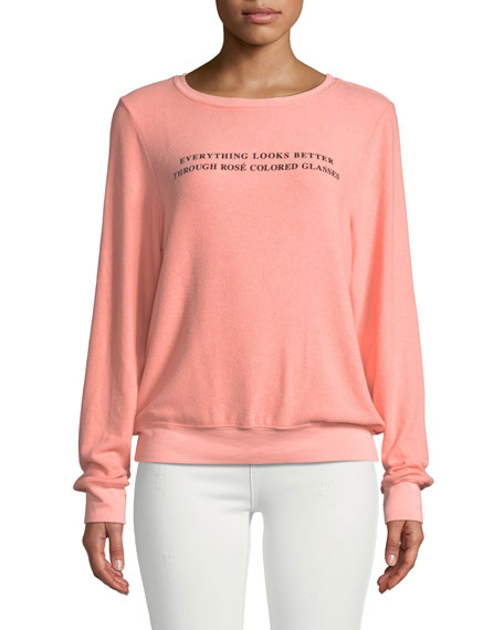 WILDFOX Rose Glasses Graphic Crewneck Sweatshirt