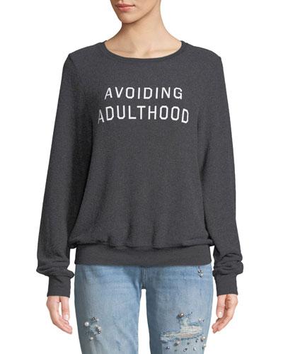 Avoiding Adulthood Graphic Crewneck Sweatshirt Top