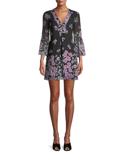 Revel Silk Mini Dress in Floral Print