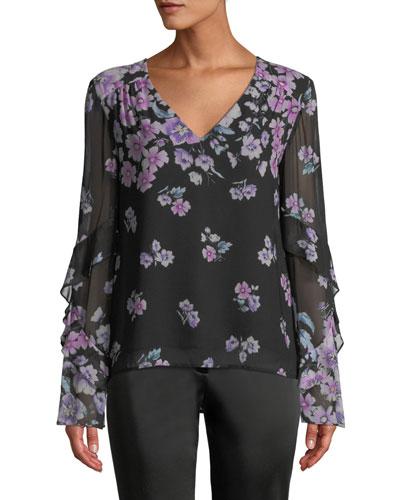Zen Floral-Print Silk Blouse