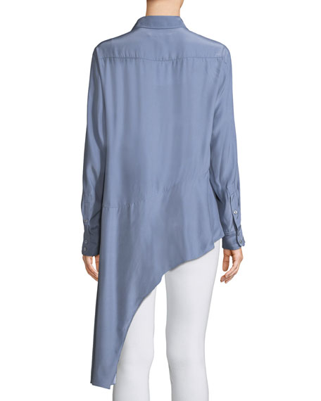 Spirit Chambray Collared Silk Blouse w/ Asymmetric Hem