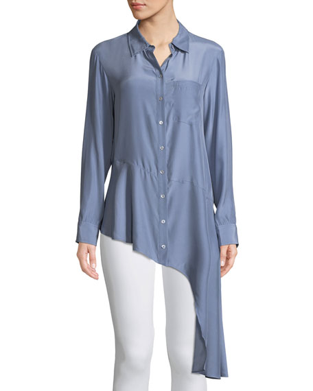 Nanette Lepore Spirit Chambray Collared Silk Blouse w/