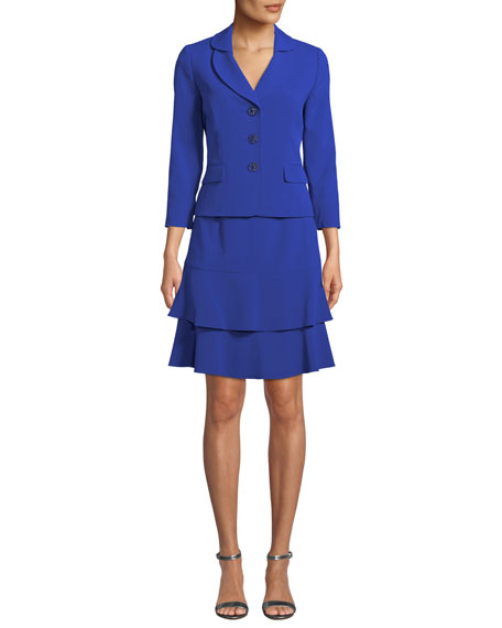 Two-Piece Suit Set w/ Tiered Skirt