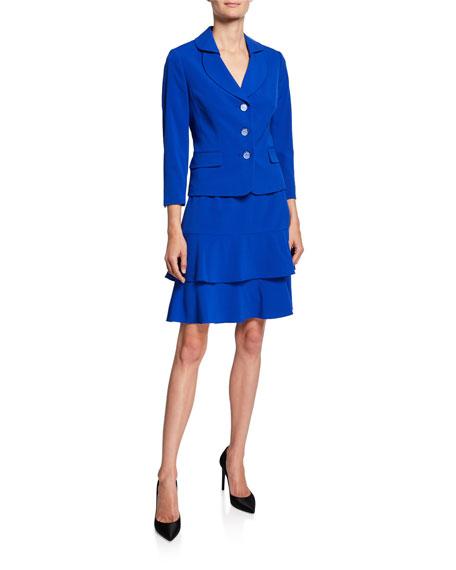 Albert Nipon Two-Piece Suit Set w/ Tiered Skirt