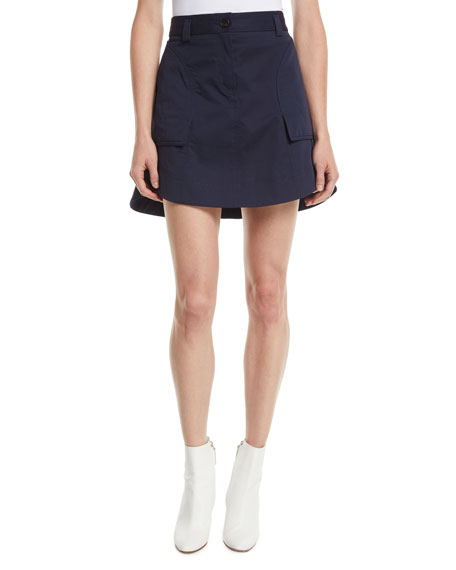 Carven A-Line Cotton Mini Skirt