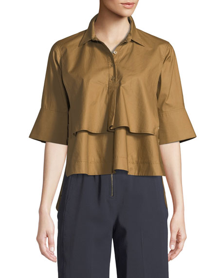 Tiered Button-Front Cotton Shirt in Brown