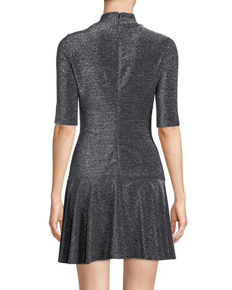 Reeder Mini Dress in Metallic Knit