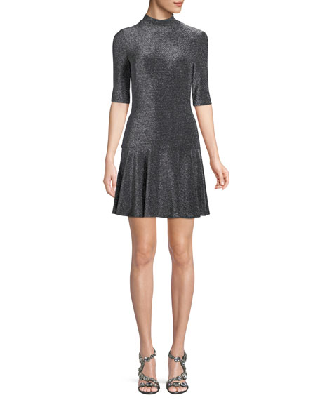 Black Halo Reeder Mini Dress in Metallic Knit