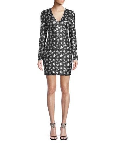 Alicia Long-Sleeve Dress w/ Sequin Stars