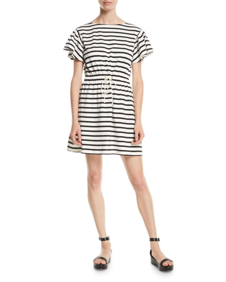 drop-shoulder striped dress