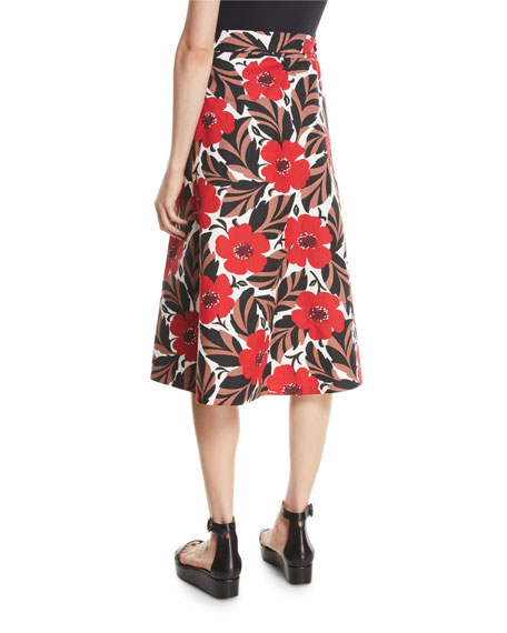 poppy field midi wrap skirt