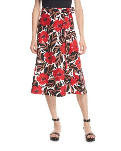 poppy field midi wrap skirt