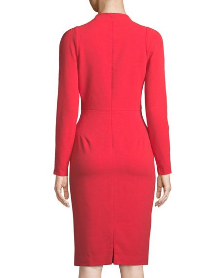 Mindy V-Neck Long-Sleeve Crepe Sheath Cocktail Dress