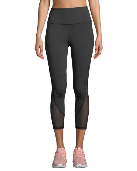 micro-mesh cropped active leggings
