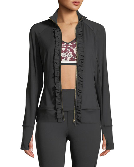 kate spade new york ruffle zip-front active jacket