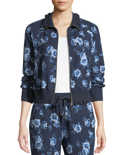 prairie rose zip-front ruffle jacket