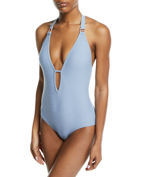 Disposition Striped Plunging One-Piece Swimsuit in Blue