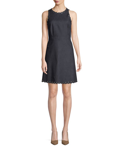 denim dress w/ scalloped trim