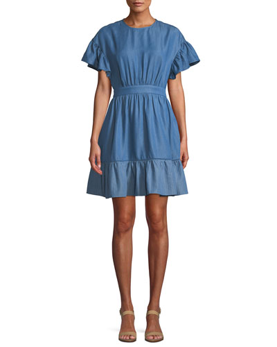 chambray dress with flutter sleeves