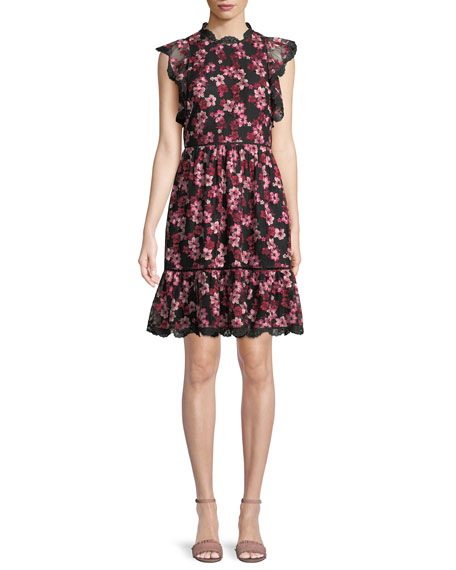 floral embroidered dress w/ scalloped trim
