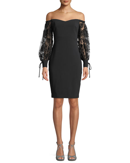 Badgley Mischka Collection Off-the-Shoulder Dress w/ 3D