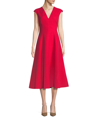 structured cotton midi dress w/ cap sleeves