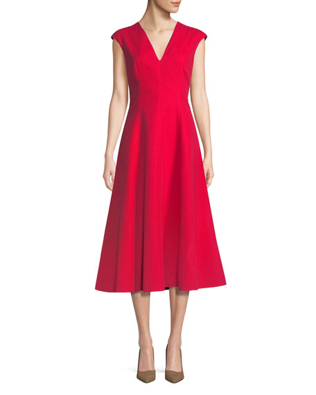 kate spade new york structured cotton midi dress