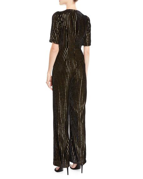 Natalia Velvet Pantsuit w/ Golden Pinstripes
